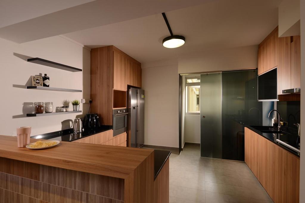 Industrial, HDB, Kitchen, Pasir Ris Drive 4, Interior Designer, Meter Square, Dry Kitchen, Sliding Door, Fridge, Indoors, Interior Design, Room, Sink