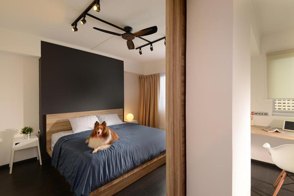 Industrial, HDB, Bedroom, Pasir Ris Drive 4, Interior Designer, Meter Square, Bed Frame, Track Lights, Ceiling Fan, Side Table, Bed, Furniture, Indoors, Interior Design, Room