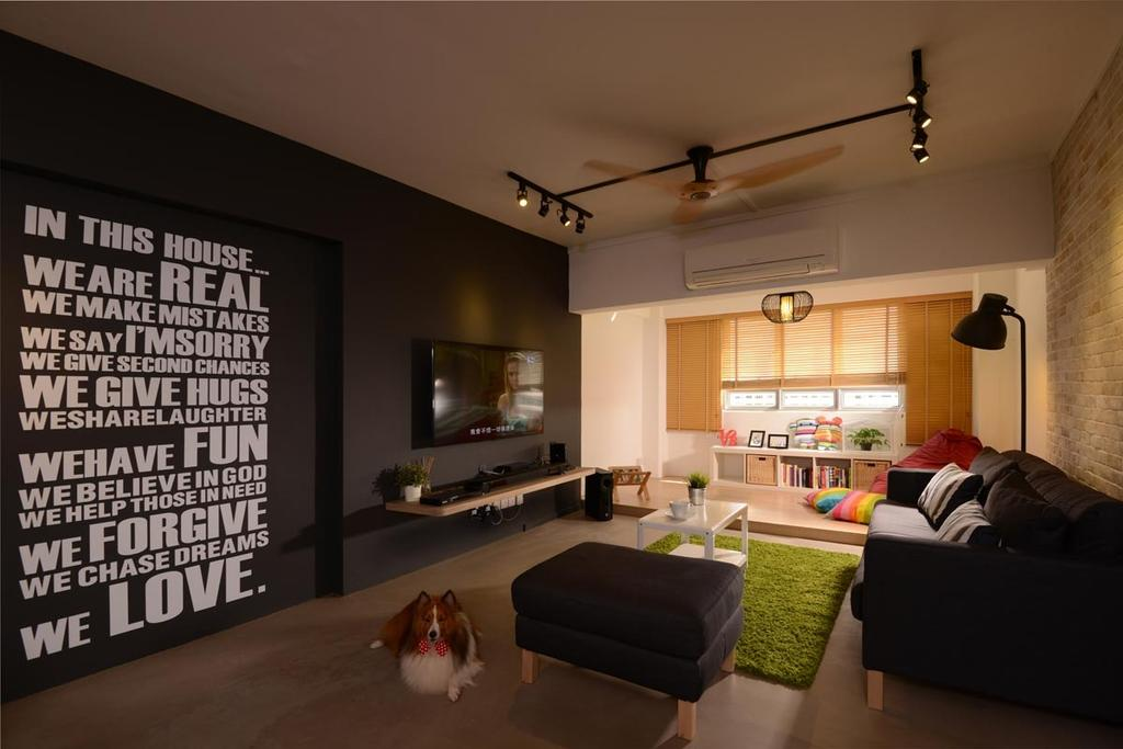 Industrial, HDB, Living Room, Pasir Ris Drive 4, Interior Designer, Meter Square, Wall Art, Tv, Tv Console, Track Lights, Ceiling Fan, Sofa, Plantform, Blinds, Ottoman, Coffee Table, Couch, Furniture, Electronics, Entertainment Center, Home Theater, Building, Housing, Indoors, Loft, Room