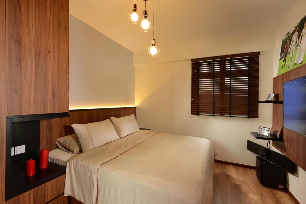 Industrial, HDB, Bedroom, Pasir Ris Street 51, Interior Designer, Meter Square, Bed Frame, Cove Lights, Blinds, Hanging Lights, Feature Wall, Tv, Indoors, Interior Design, Room