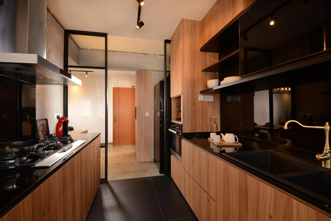 Pasir Ris Street 51, Meter Square, Industrial, Kitchen, HDB, Granite Top, Sink, Shleving, Hood, Cabniets, Stove, Drawers, Tiles, Glass Panel, Track Lights, Indoors, Interior Design, Room, Flooring