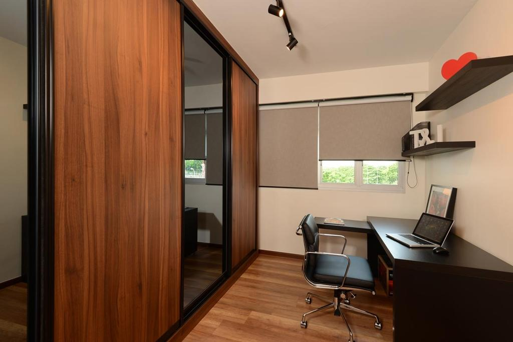 Industrial, HDB, Study, Pasir Ris Street 51, Interior Designer, Meter Square, Wardrobe, Laminate, Mirror, Sliding Door, Track Lights, Blinds, Shleving, Desk, Roller Chair, Building, Housing, Indoors