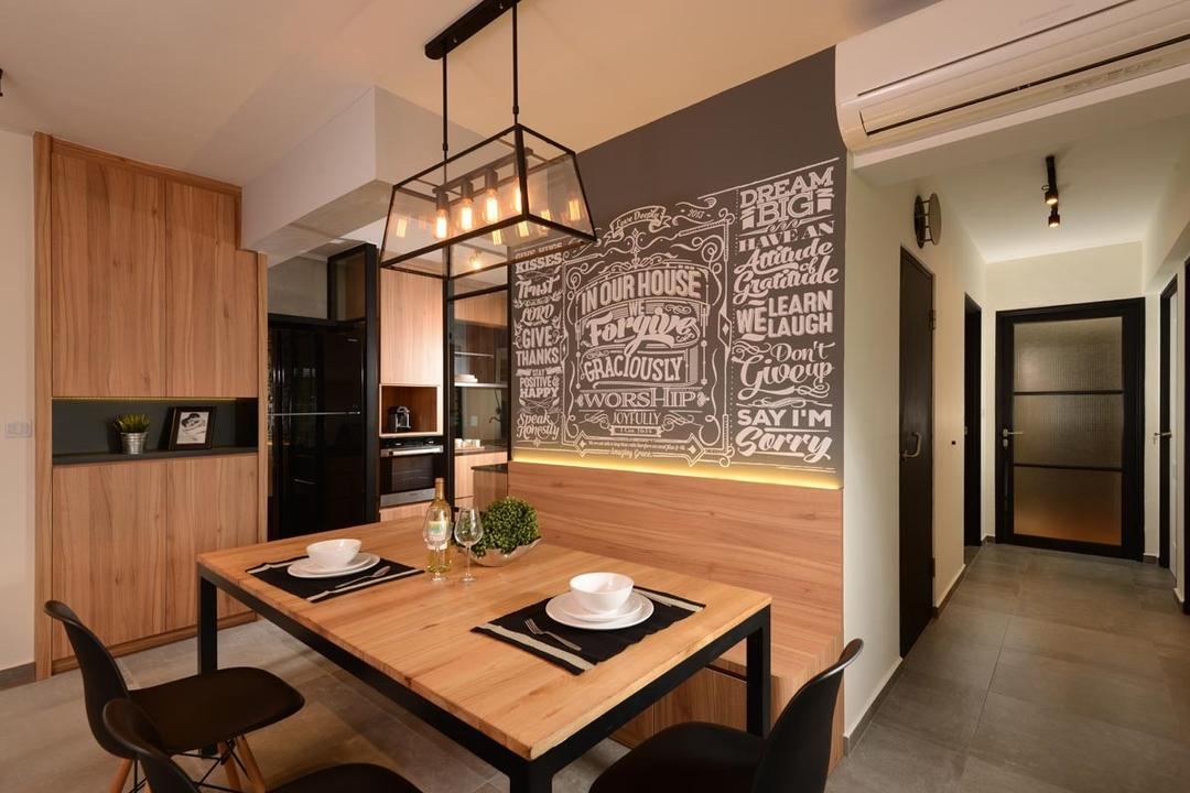 Pasir Ris Street 51, Meter Square, Industrial, Dining Room, HDB, Dining Lights, Cove Light, Wall Art, Fridge, Glass Panel, Built In Bench, Dining Chair, Dining Tbale, Cement Screed Tiles, Track Lights, Indoors, Interior Design, Room, Chair, Furniture, Dining Table, Table, Corridor