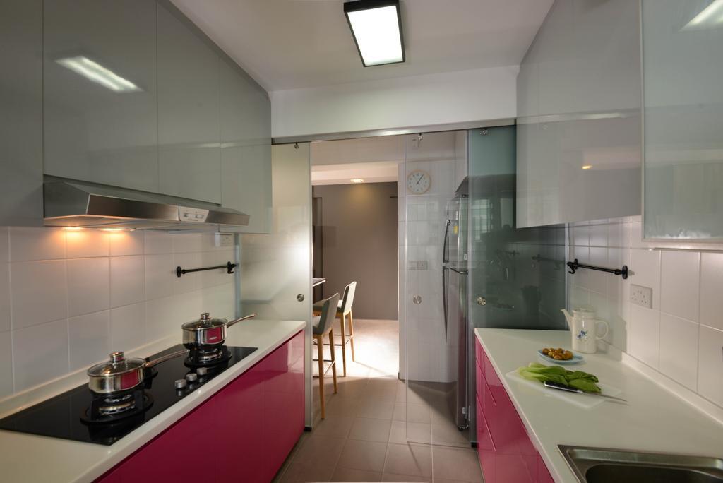 Industrial, HDB, Kitchen, Punggol Walk (Block 212A), Interior Designer, Meter Square, Fridge, Sliding Door, Stove, Wall Tiles, Indoors, Interior Design