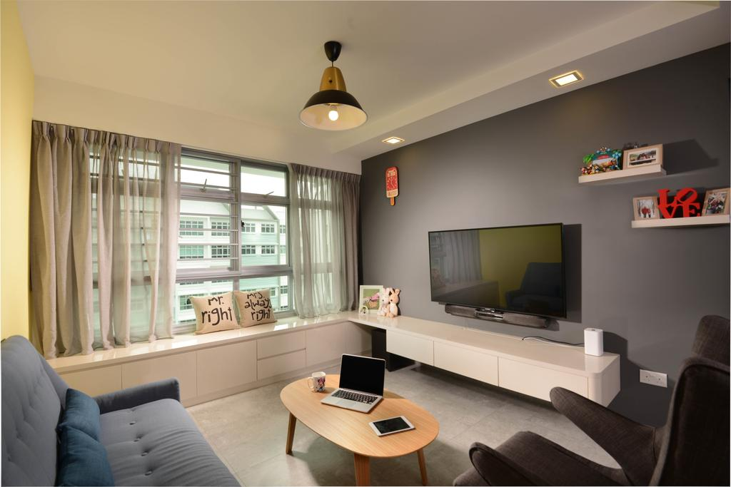 Industrial, HDB, Living Room, Punggol Walk (Block 212A), Interior Designer, Meter Square, Bay Window, Curtain, Down Lgihts, Tv, Tv Console, Sofa, Coffee Table, Shelving, Shelf, Indoors, Room, Couch, Furniture, Desk, Table