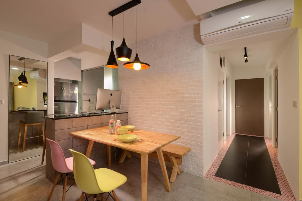 Industrial, HDB, Dining Room, Punggol Walk (Block 212A), Interior Designer, Meter Square, Dining Table, Dining Chairs, Bench, Hanging Lights, Bar Counter, Fridge, Mirror, Tiles, Chair, Furniture, Table, Indoors, Interior Design, Room, Flooring, Plywood, Wood