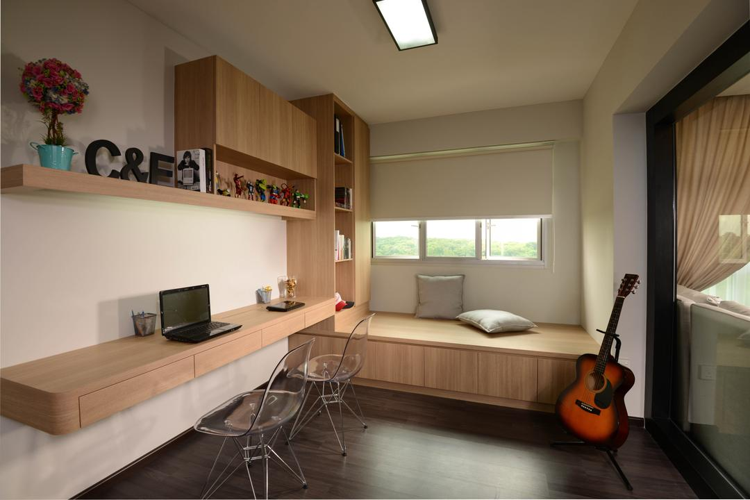 Rivervale Crescent, Meter Square, Contemporary, Study, HDB, Platform, Blinds, Desk, Chairs, Shleving, Appliance, Electrical Device, Microwave, Oven, Leisure Activities, Lute, Mandolin, Music, Musical Instrument, Chair, Furniture, Window, Indoors, Interior Design