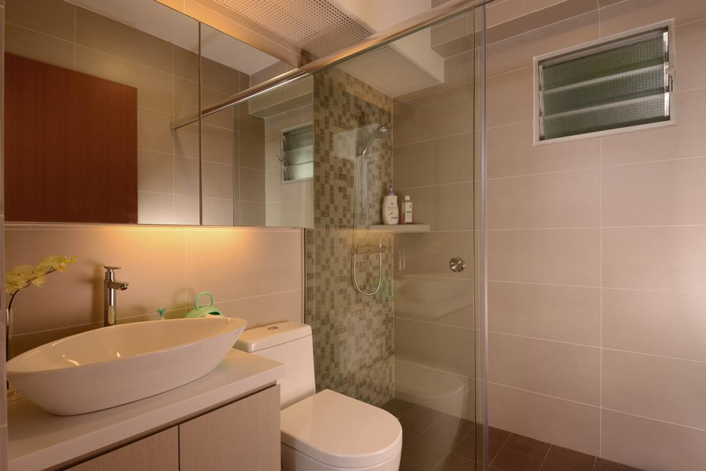 Contemporary, HDB, Bathroom, Sengkang West Way, Interior Designer, Meter Square, Mirror, Sink, Toilet Bowl, Shower Screen, Indoors, Interior Design, Room