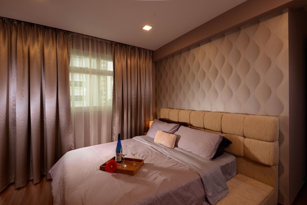 Contemporary, HDB, Bedroom, Sengkang West Way, Interior Designer, Meter Square, Head Board, Curtain, Bed Frame, Indoors, Room, Interior Design