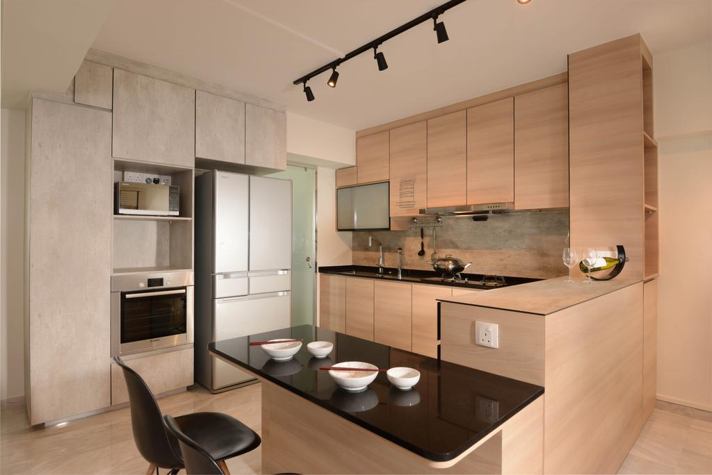 Contemporary, HDB, Kitchen, Tampines Avenue 8, Interior Designer, Meter Square, Track Lights, Table, Oven, Cabinets, Fridge, Chair, Furniture, Appliance, Electrical Device, Indoors, Interior Design