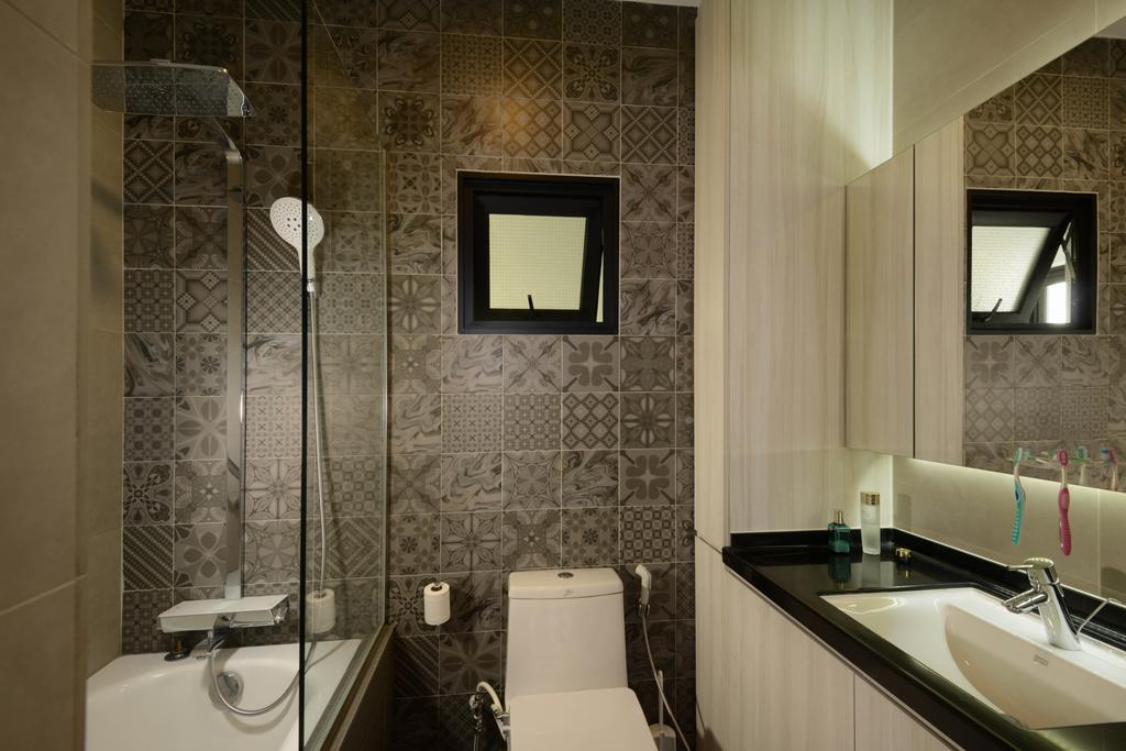 Contemporary, HDB, Bathroom, Tampines Avenue 8, Interior Designer, Meter Square, Mirror, Wall Tiles, Shower Screen, Shower, Toilet Bowl, Cove Light, Indoors, Interior Design, Room
