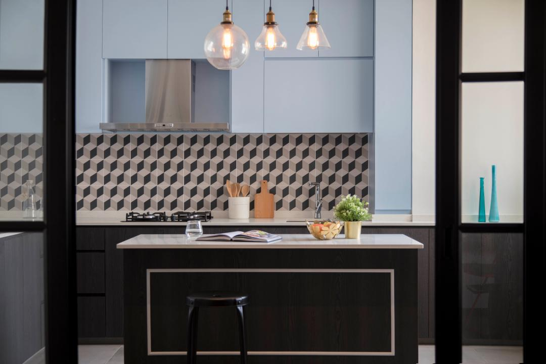 Simei Street 2, Anhans Interior Design, Contemporary, Kitchen, HDB, Indoors, Interior Design, Room, Bar Stool, Furniture