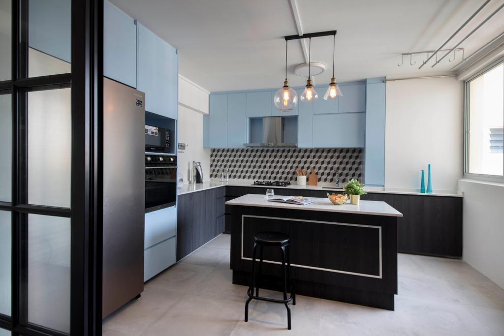Contemporary, HDB, Kitchen, Simei Street 2, Interior Designer, Anhans Interior Design, Light Fixture, Chair, Furniture, Indoors, Interior Design