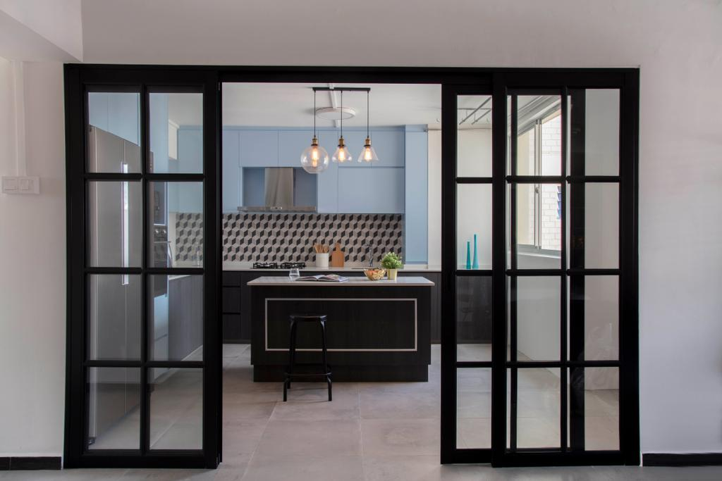 Contemporary, HDB, Simei Street 2, Interior Designer, Anhans Interior Design, Door, Sliding Door