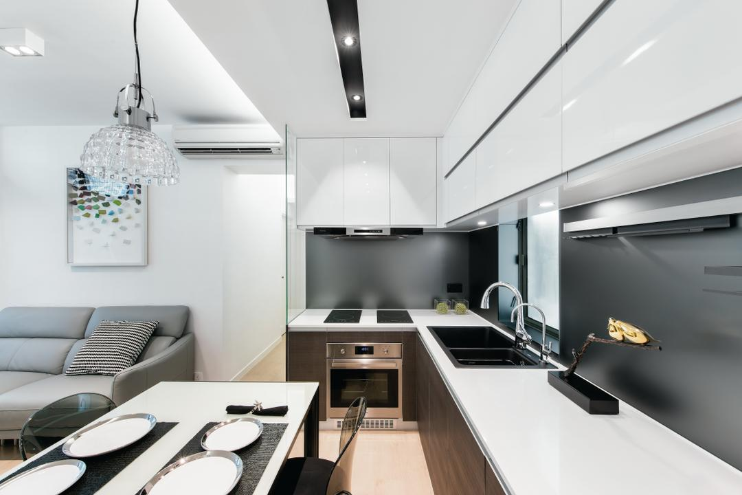 東港城, Space Design, 摩登, 廚房, 私家樓, Sink, 公屋/居屋, Building, Housing, Indoors, Loft, Light Fixture, Chair, Furniture, Interior Design