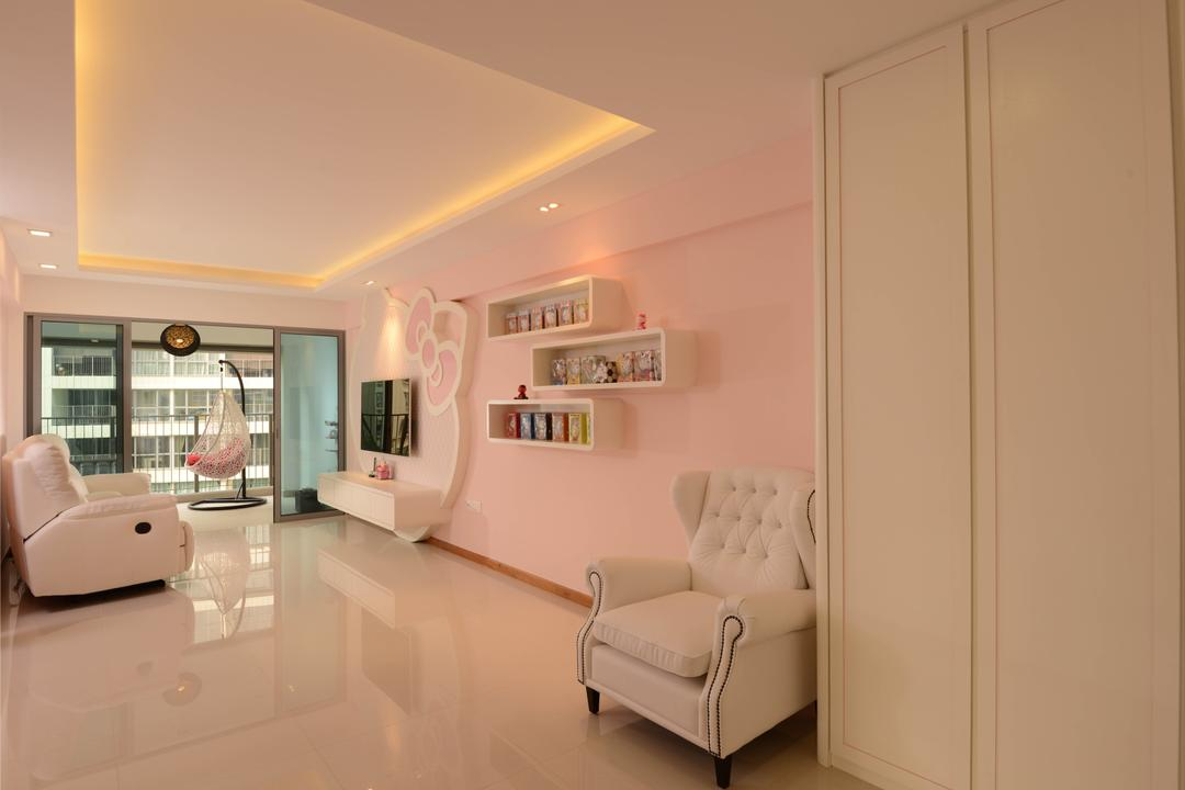 Tampines Central 8, Meter Square, Modern, Living Room, HDB, Hello Kitty, Balcony, Swin, Shleving, Tiles, Sofa, Tv, Tv Console