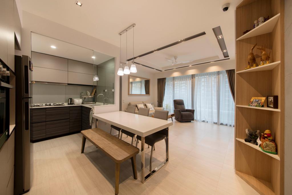 Modern, Condo, Dining Room, D'Nest, Interior Designer, Ascenders Design Studio, Shelf, Indoors, Interior Design, Room, Bookcase, Furniture