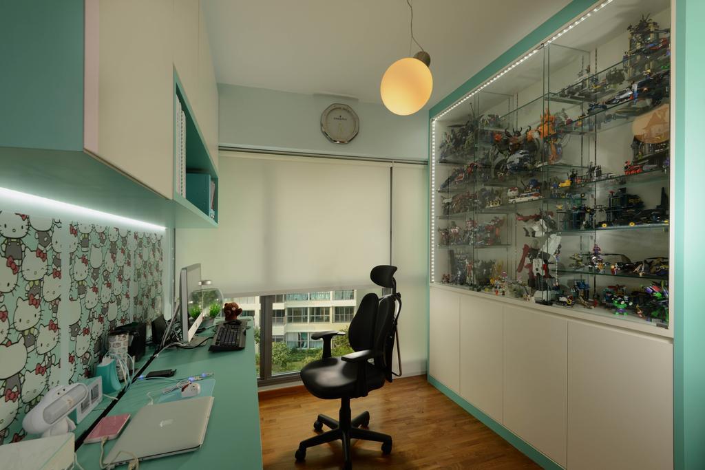 Modern, HDB, Study, Tampines Central 8, Interior Designer, Meter Square, Glass Display, Glass Shelving, Shleving, Desk, Roller Chair, Blinds, Cabinets, Chair, Furniture