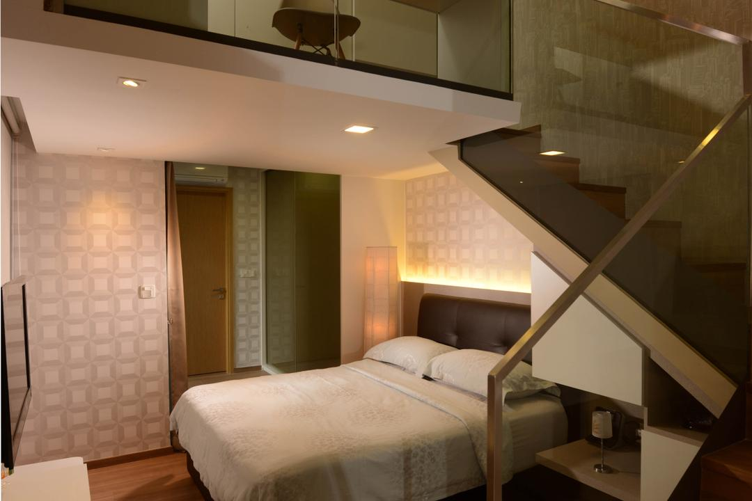 Upper East Coast Road, Meter Square, Contemporary, Bedroom, Condo, Stairs, Attic, Bed, Wood Flor, Banister, Handrail, Staircase, Furniture, Indoors, Interior Design, Room