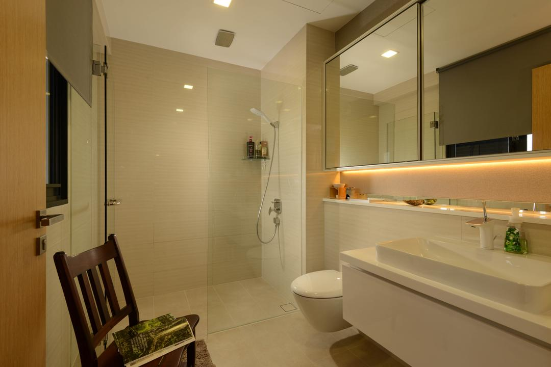 Upper East Coast Road, Meter Square, Contemporary, Bathroom, Condo, Cove Light, Wall Tiles, Shower Screedn, Shower, Toilet Bowl, Sink, Mirror, Chair, Furniture, Wall, Indoors, Interior Design