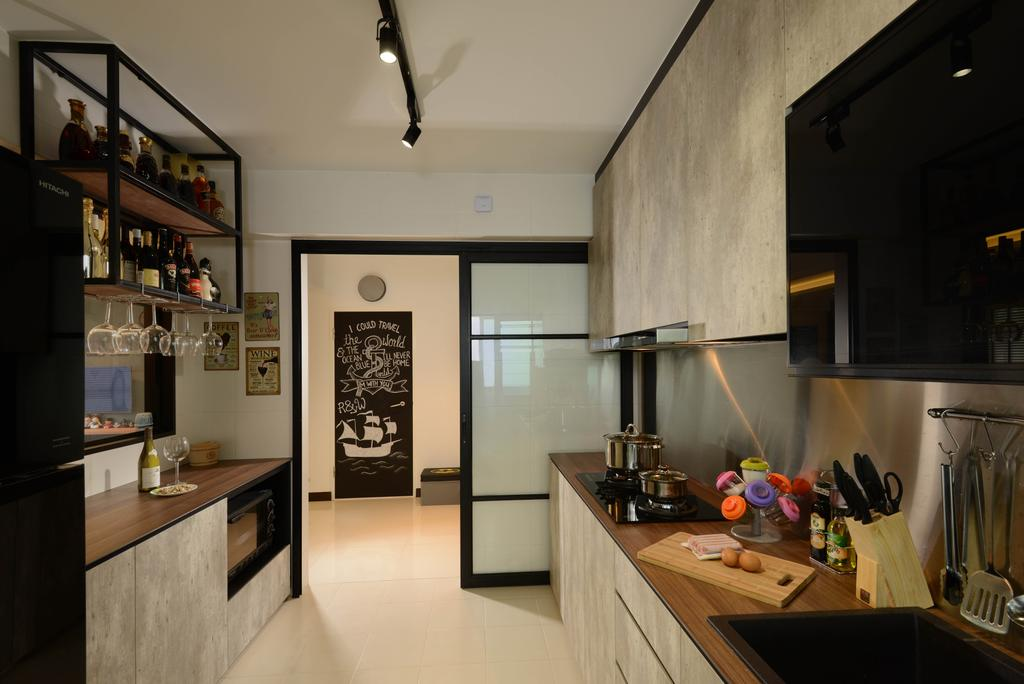 Contemporary, HDB, Kitchen, Yishun Street 51, Interior Designer, Meter Square, Sliding Door, Stove, Drawers, Cabinets, Sink, Appliance, Electrical Device, Oven, Indoors, Interior Design, Room
