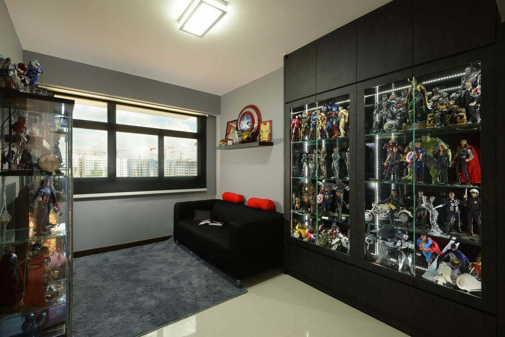 Contemporary, HDB, Study, Yishun Street 51, Interior Designer, Meter Square, Glass Shelving, Sofa, Blinds, Shop