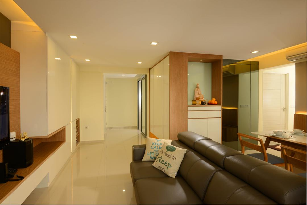Yuan Ching Road, Meter Square, Contemporary, Living Room, HDB, Spfa, Tiles, Tv Console, Down Ligt, Cove Light, Altar, White, Couch, Furniture, Indoors, Room