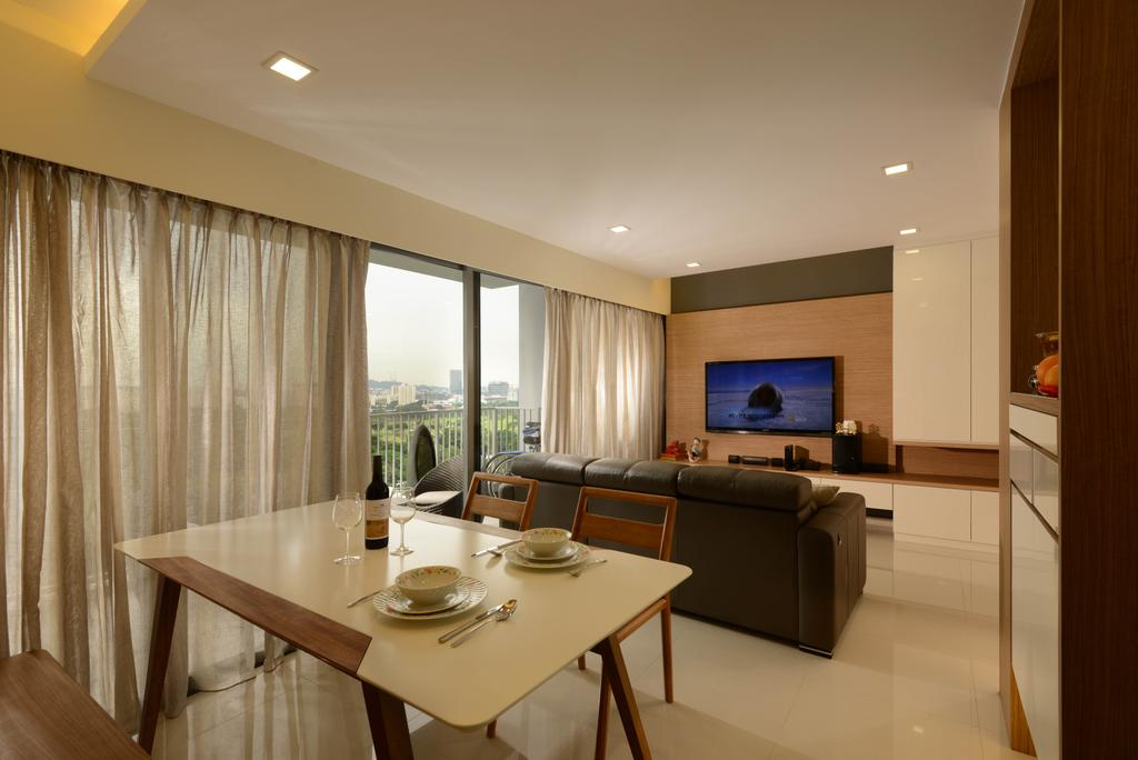 Contemporary, HDB, Dining Room, Yuan Ching Road, Interior Designer, Meter Square, Tv, Feature Wall, Dining Table, Dining Chairs, Sofa, Curtain, Down Light, Cove Light, Electronics, Entertainment Center, Home Theater, Furniture, Table, Indoors, Interior Design, Room