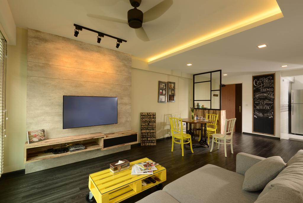 Transitional, HDB, Living Room, Yung Kuang Road, Interior Designer, Meter Square, Cove Light, Ceiling Fan, Feature Wall, Tv, Tv Console, Coffee Tbale, Sofa, Dining Table, Dining Hairs, Partition, Wood Floor, Chalk Wall, Track Lights, Couch, Furniture, Indoors, Room