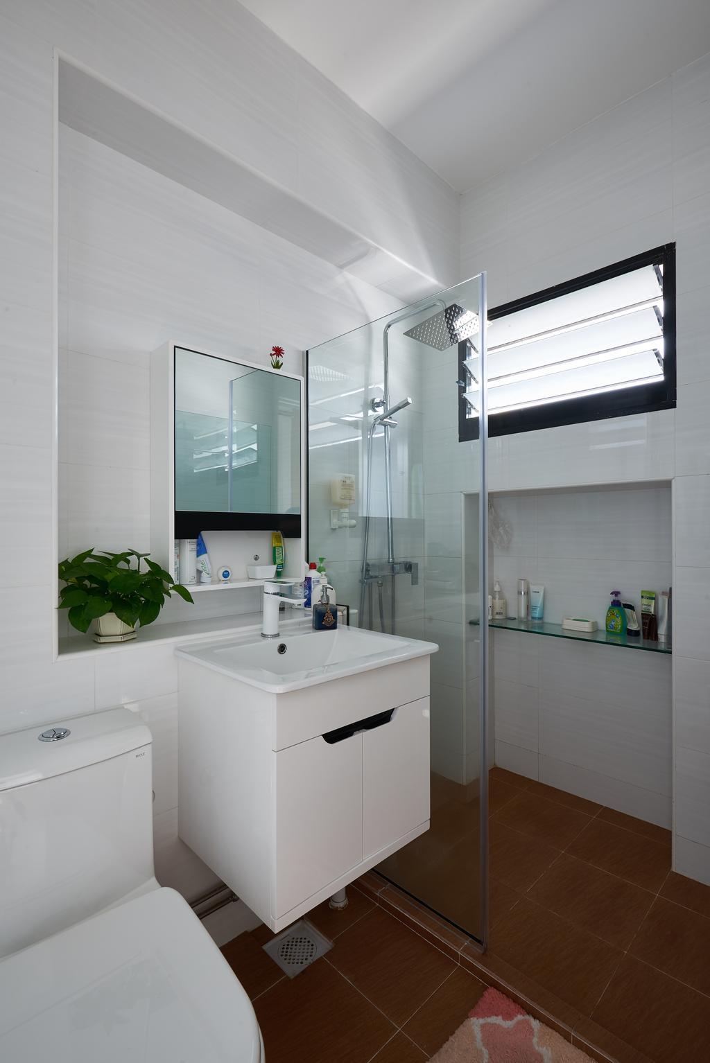Modern, HDB, Bathroom, Pasir Ris Street 21, Interior Designer, VVID Elements, Flora, Jar, Plant, Potted Plant, Pottery, Vase, Indoors, Interior Design, Room