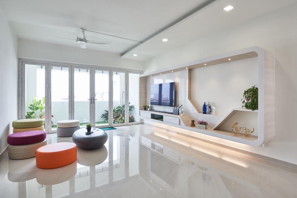 Modern, HDB, Living Room, Pasir Ris Street 21, Interior Designer, Mesh Room Design, Indoors, Interior Design, Flora, Jar, Plant, Potted Plant, Pottery, Vase