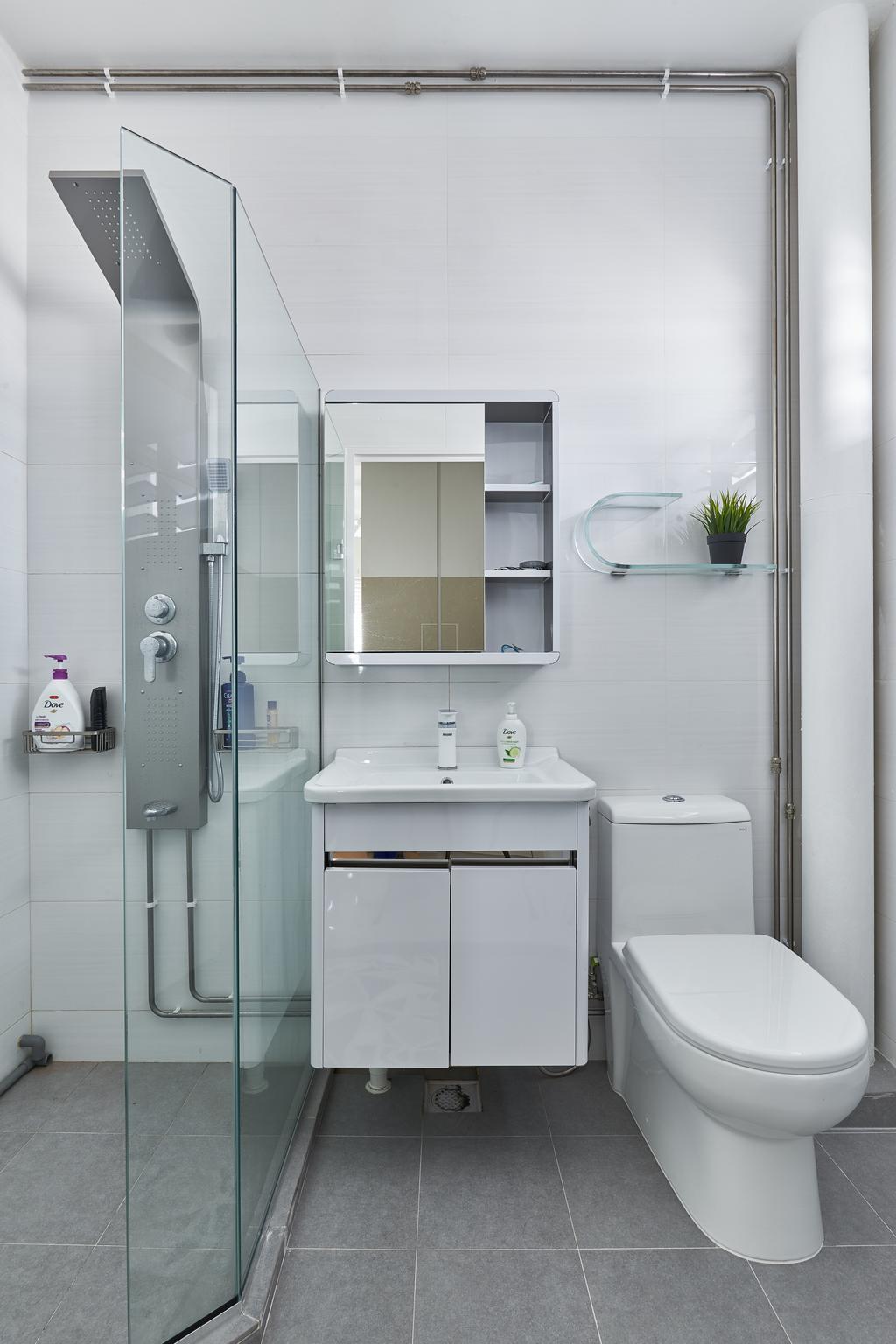 Modern, HDB, Bathroom, Pasir Ris Street 21, Interior Designer, Mesh Room Design, Sink, Indoors, Interior Design, Room