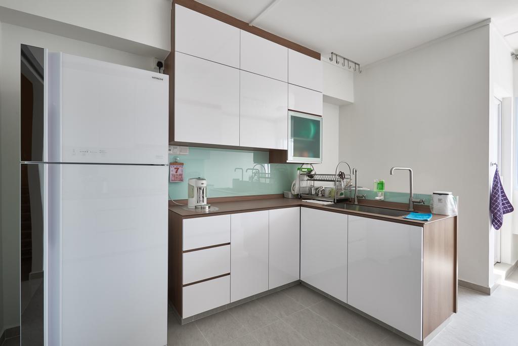 Modern, HDB, Kitchen, Pasir Ris Street 21, Interior Designer, Mesh Room Design, Furniture, Sideboard, Appliance, Electrical Device, Fridge, Refrigerator, Indoors, Interior Design, Room