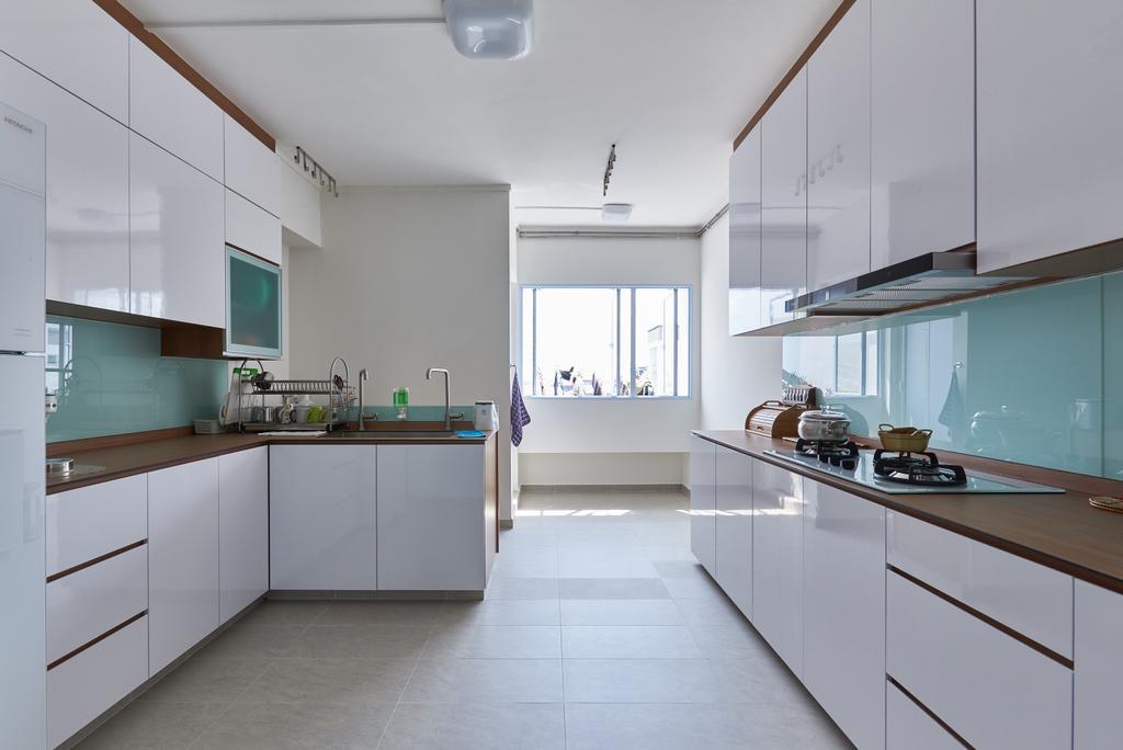 Modern, HDB, Kitchen, Pasir Ris Street 21, Interior Designer, Mesh Room Design, Building, Housing, Indoors, Loft, Interior Design, Room, Door, Sliding Door
