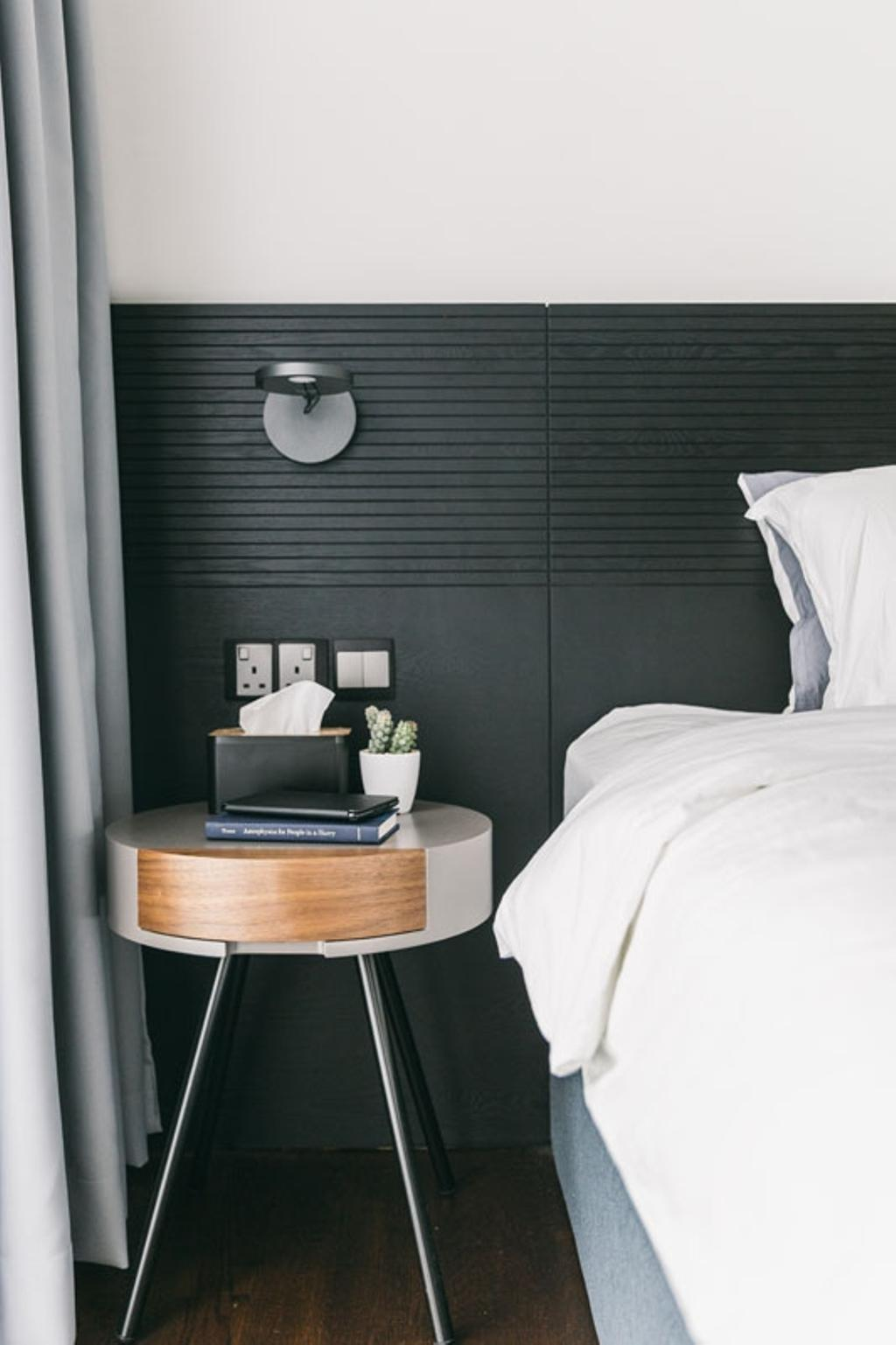 Contemporary, Condo, Bedroom, Seventy Saint Patricks, Interior Designer, Habit, Bedframe, Headboard, Wall Sconce, Bedside, Towel, Bed, Furniture
