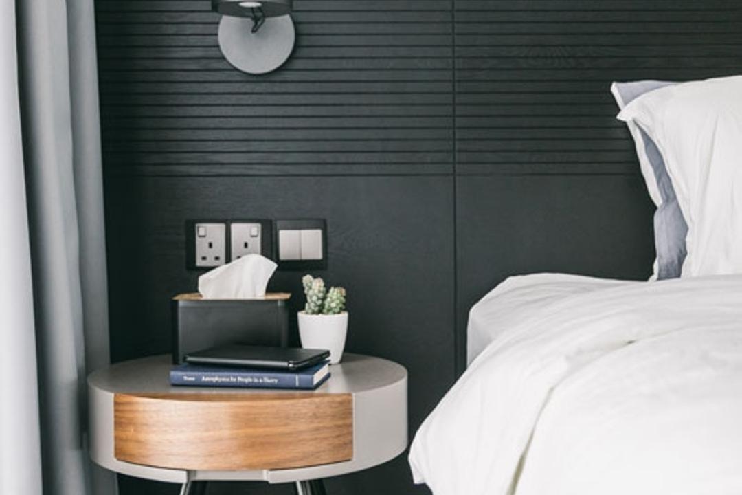 Seventy Saint Patricks, Habit, Contemporary, Bedroom, Condo, Bedframe, Headboard, Wall Sconce, Bedside, Towel, Bed, Furniture