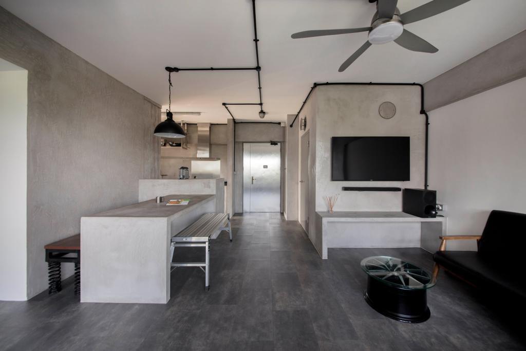 Industrial, HDB, Living Room, Depot Road, Interior Designer, Goodman Interior, Building, Housing, Indoors, Loft, Bowl, Flooring