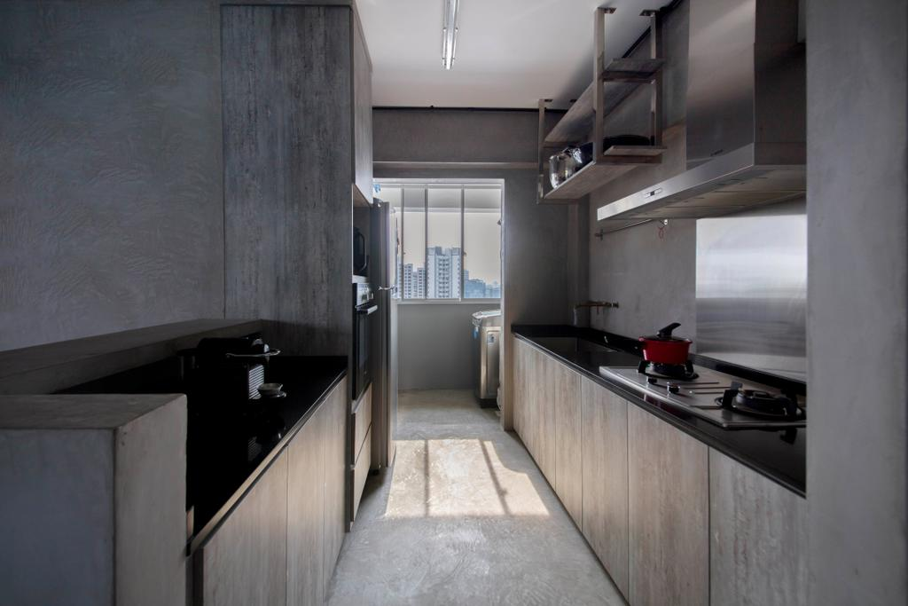 Industrial, HDB, Kitchen, Depot Road, Interior Designer, Goodman Interior, Building, Housing, Indoors, Loft