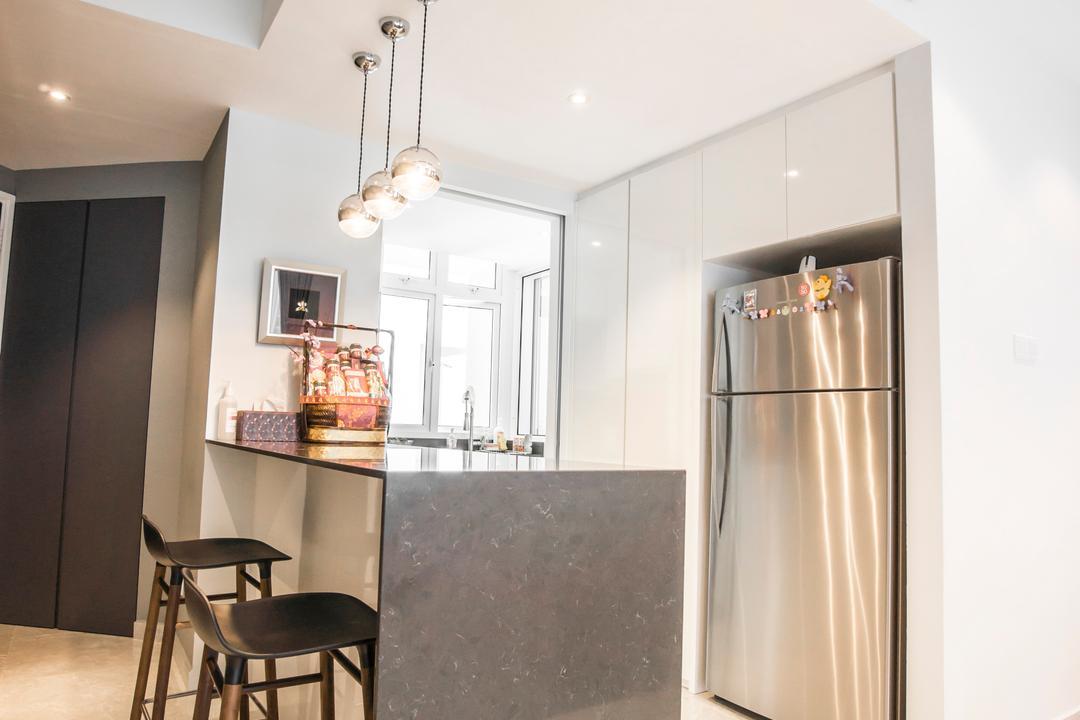 Monterey Park, Flo Design, Contemporary, Kitchen, Condo, Appliance, Electrical Device, Fridge, Refrigerator, Bar Stool, Furniture, Dining Room, Indoors, Interior Design, Room