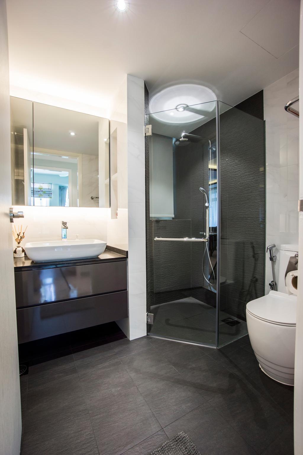 Contemporary, Condo, Bathroom, Monterey Park, Interior Designer, Flo Design, Indoors, Interior Design, Room, Sink, Door, Sliding Door