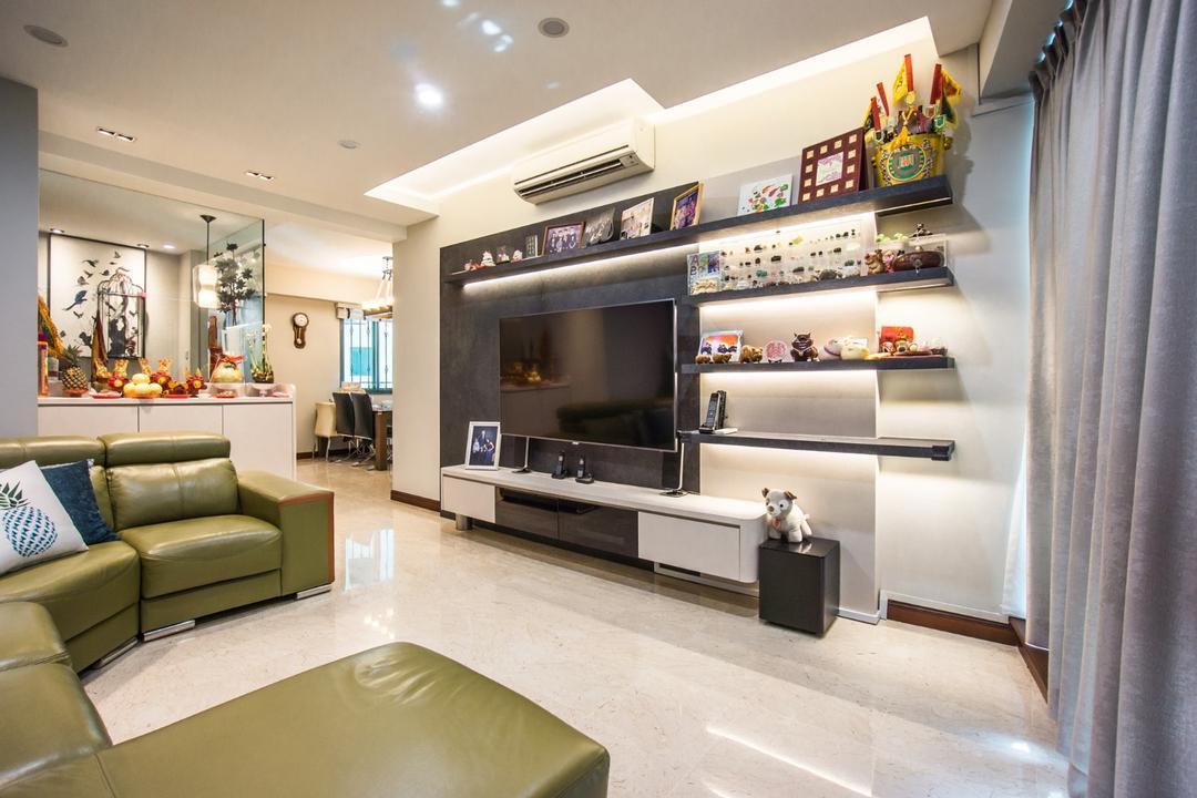 Palm Gardens, Flo Design, Transitional, Living Room, Condo, Altar, Architecture, Building, Indoors, Interior Design, Couch, Furniture, HDB, Housing, Loft