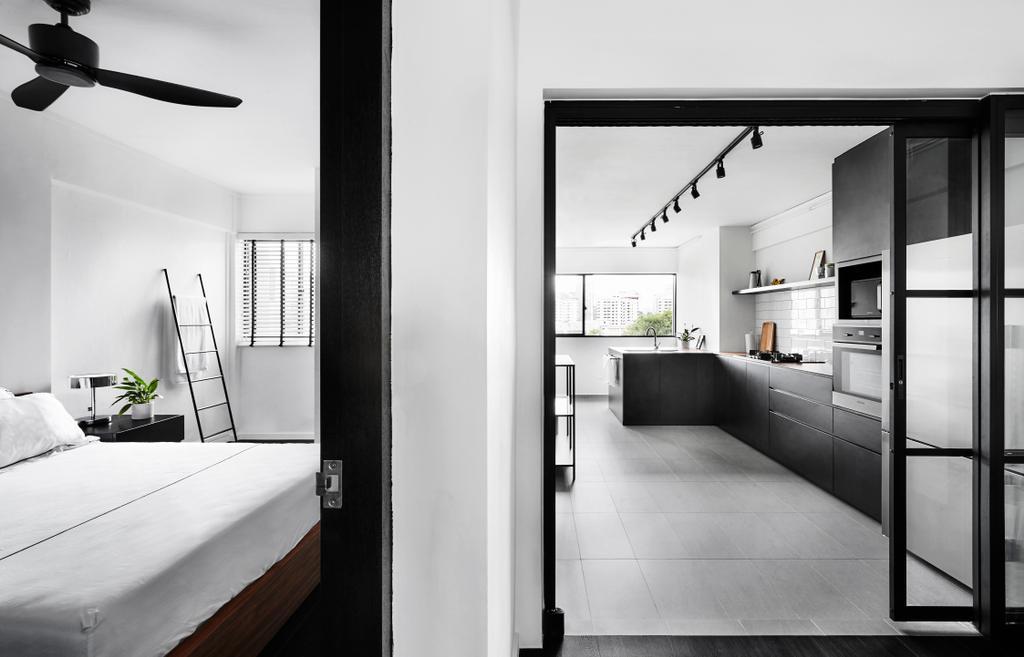 Modern, HDB, Bedroom, Dorset Road, Interior Designer, Third Avenue Studio, Propeller, Door, Sliding Door, Building, Housing, Indoors, Loft