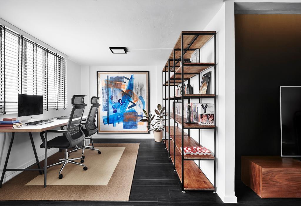 Modern, HDB, Study, Dorset Road, Interior Designer, Third Avenue Studio, Human, People, Person, Chair, Furniture, Shelf, Art, Modern Art, Hardwood, Stained Wood, Wood, Banister, Handrail