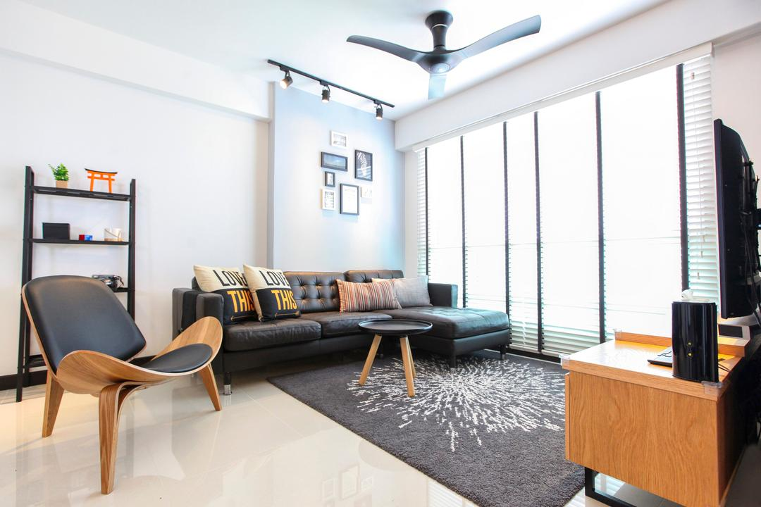 Bukit Batok West Avenue, 9's Interior, Contemporary, Living Room, HDB, Chair, Furniture, Shelf, Studio Couch