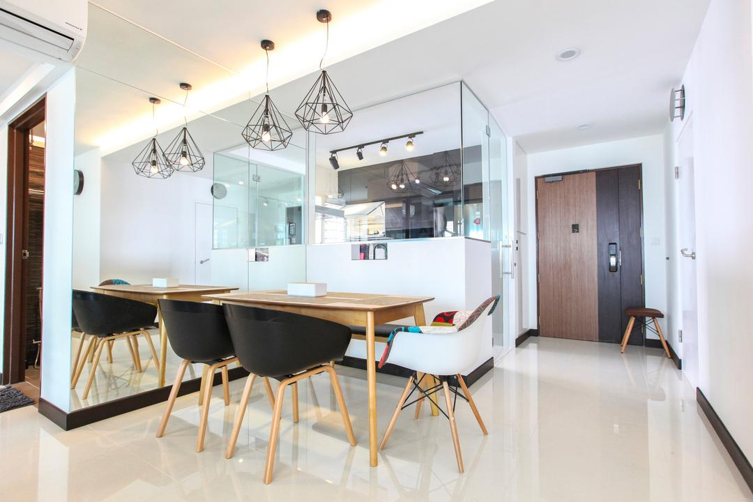 Bukit Batok West Avenue, 9's Interior, Contemporary, Dining Room, HDB, Molding, Chair, Furniture, Indoors, Interior Design, Room, Dining Table, Table