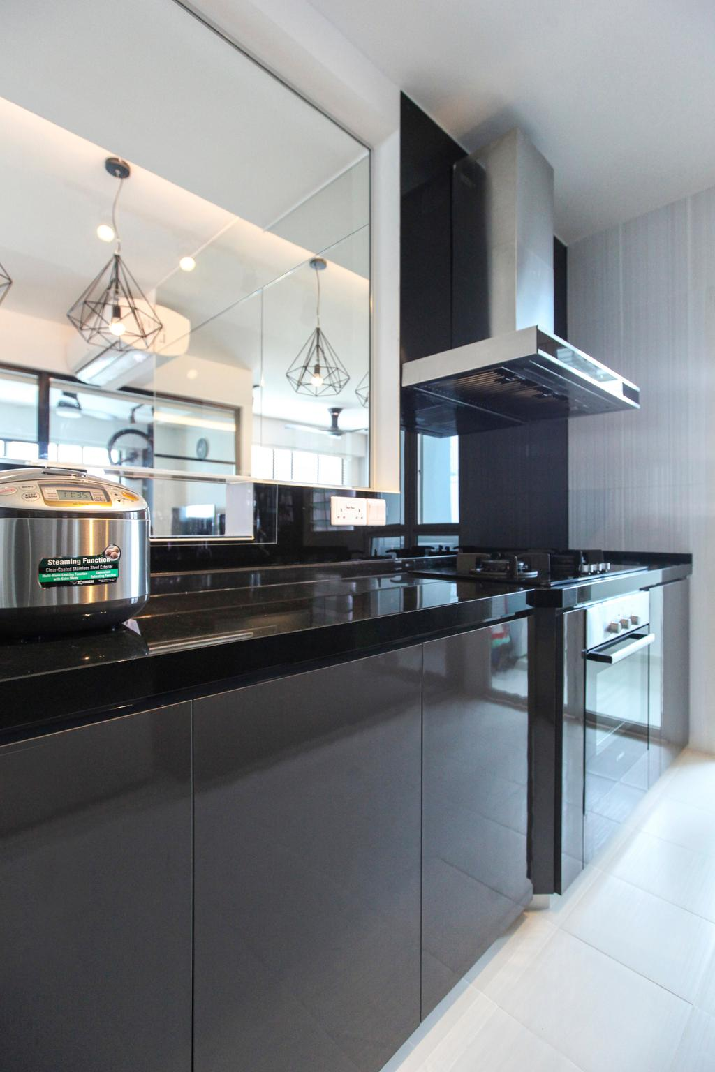 Contemporary, HDB, Kitchen, Bukit Batok West Avenue, Interior Designer, 9's Interior, Diner, Food, Meal, Restaurant, Bathroom, Indoors, Interior Design, Room