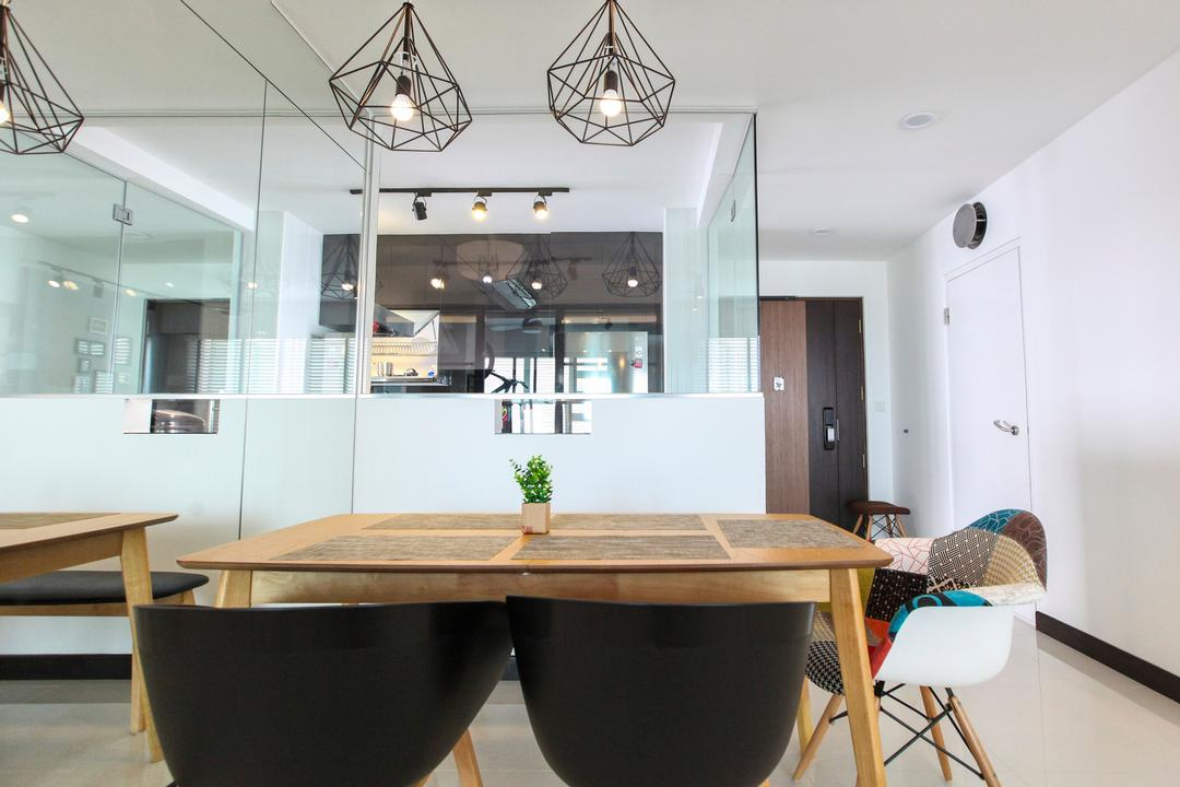 Bukit Batok West Avenue, 9's Interior, Contemporary, Dining Room, HDB, Light Fixture, Chair, Furniture, Indoors, Interior Design, Room, Conference Room, Meeting Room