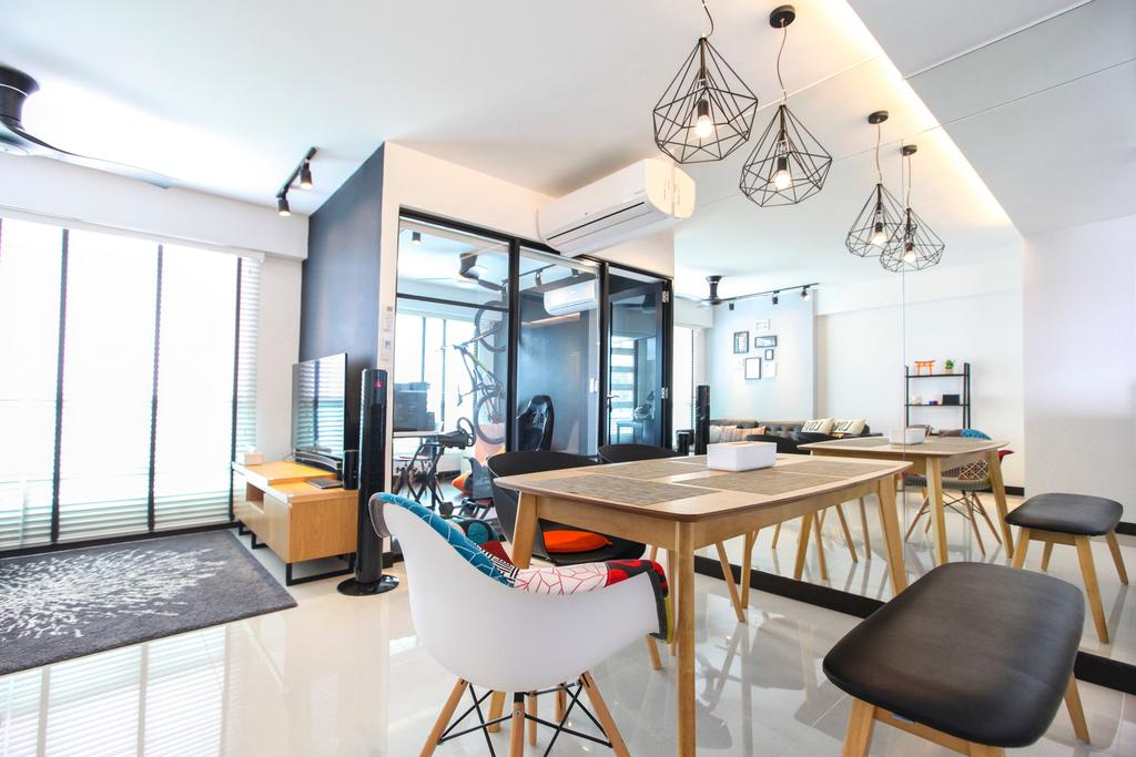 Contemporary, HDB, Dining Room, Bukit Batok West Avenue, Interior Designer, 9's Interior, Chair, Furniture, Light Fixture, Dining Table, Table, Indoors, Interior Design, Room