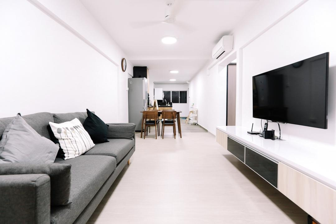 Gloucester Road, 9's Interior, Modern, Minimalistic, Living Room, HDB, Couch, Furniture, Electronics, Lcd Screen, Monitor, Screen, Dining Room, Indoors, Interior Design, Room
