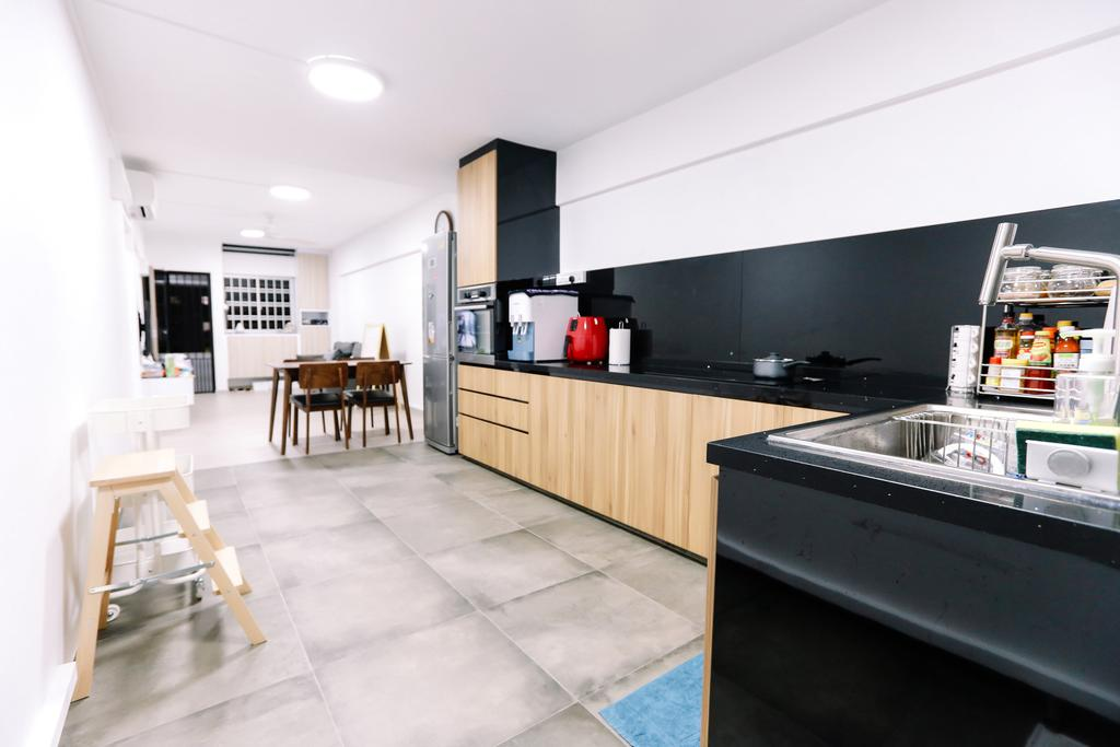 Modern, HDB, Kitchen, Gloucester Road, Interior Designer, 9's Interior, Minimalistic, Dining Table, Furniture, Table, Flooring, Appliance, Electrical Device, Oven, Indoors, Interior Design, Room